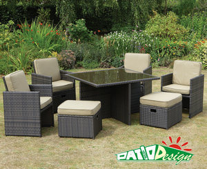 Outdoor Garden Rattan Furniture, 9PCS Wicker Set Mixed Brown -1292MB