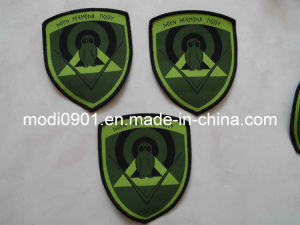High Density Dog Badges Cheap Damask Woven Labels with Cute Design pictures & photos