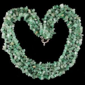 "Green Aventurine Chip Bead Gemstone Necklace 18"" (PE059)"