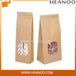 Luxury Custom Brown Kraft Paper Bags with PLA Window pictures & photos