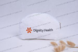 Embroider Logo Cotton Lining and Toweling Pouch Cosmetic pictures & photos