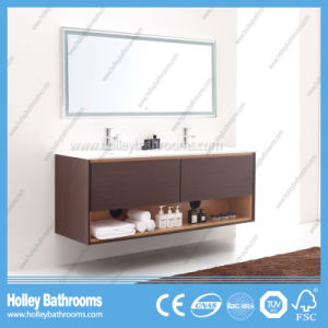 High Quality Wall Mounted Bathroom Cabinet with Side Vanity and 2 Basins (BF372D)