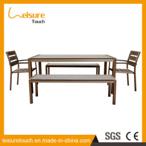 Belt and Road Patio Outdoor Furniture Brushed Aluminum Plastic Wood Stackable Chair Table Set pictures & photos