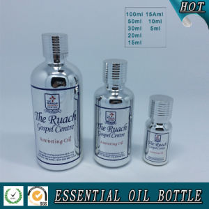Silver Electroplating Glass Essential Oil Bottle with Silver Cap and Reducer Plug pictures & photos