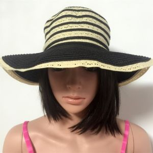 100% Straw Hat, Fashion Lady′s Style with Stripes and Big Brim pictures & photos