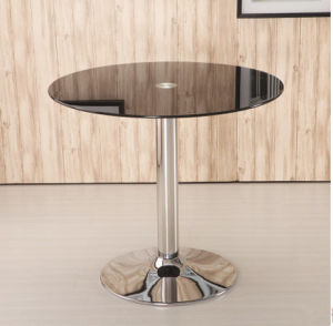 Modern Round Office Tempered Glass Bar Coffee Restaurant Host Table with Stainless Steel Leg