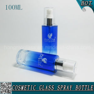 100ml Blue Cosmetic Glass Lotion Pump Bottle with Plastic Cap pictures & photos