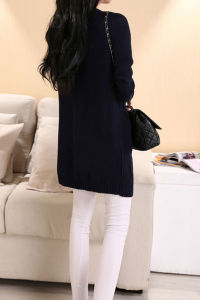 Western Style Ladies Long Cardigan Pure Color Casual Knit Sweater pictures & photos