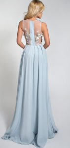 Beautiful Silk Evening Dress with 3D Flowers on Top pictures & photos