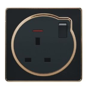 British Standard Black Golden-Framed 13A Square-Pinned Switched Socket with Neon pictures & photos