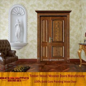 Solid Wood Flush Unequal Double Door Front Door for Home (XS1-008) pictures & photos