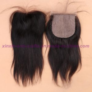 8A Virgin Brazilian Closure 4X4 Swiss Silk Virgin Hair Closure Straight Middle/Free/3 Part Top Closure pictures & photos