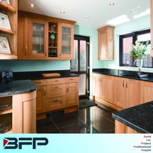 Simple Design Wooden Kitchen Cabinet with Black Countertop pictures & photos