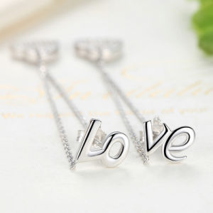 925 Sterling Silver Love Long Earrings Heart to Heart Drop Earrings pictures & photos