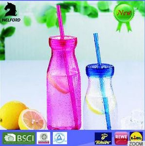 LFGB Certificated Colourful Milk Bottle with Straw pictures & photos