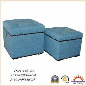 modern Furniture Fabric Button Tufted Nesting Ottoman Trunk with Nailhead Trim pictures & photos