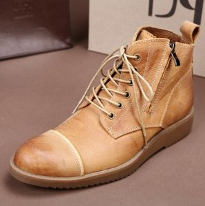 New Men Leather Casual Shoes High Top Martin Boots (AKPX34) pictures & photos