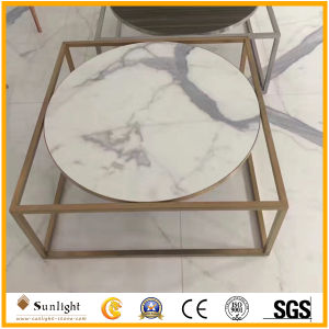 Custom Polished Italian Calacatta White Marble Round Desk, Table Tops pictures & photos