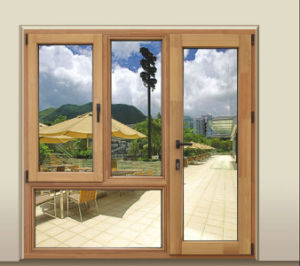 Latest Design Double Tempered Glass Wood and Aluminum Composite Window pictures & photos