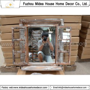 Handcrafted Shabby Farming Rustic Wood Window Shape Mirror (in stock) pictures & photos