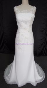 Noble Strapless Beaded Lace up Mermaid Beach Wedding Gown pictures & photos