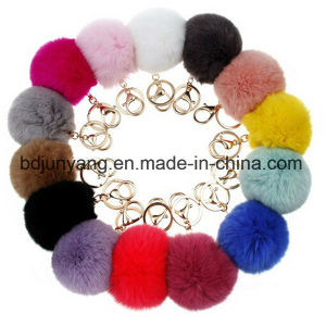 Elegant Rex Rabbit Fur Pompon Keychain pictures & photos