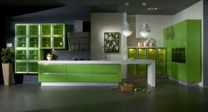 Green High Gloss Lacquer Kitchen Carbinet Furniture pictures & photos