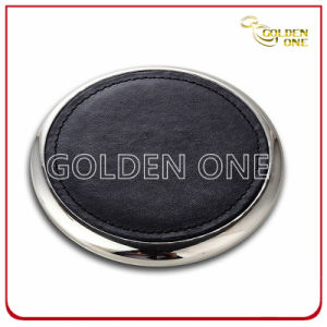 Promotion Round Shape PU Leather Coaster with Metal Bottom pictures & photos