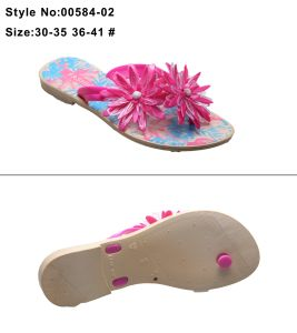EVA Flat Women and Ladies Flip Flop Sandals Slipper with Printed Sole and Flower and Metal Decorations pictures & photos