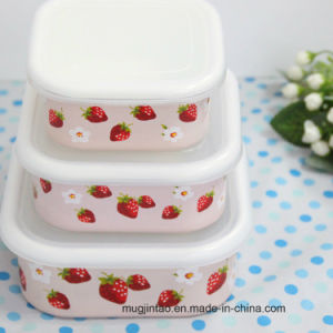 Enamel Tableware Enamel Pot Storage Tank Fresh -Keeping Box with Plastic Cover 3/4 in Set pictures & photos