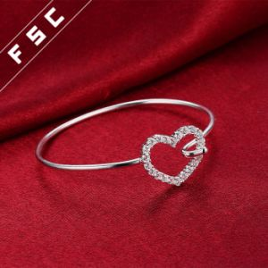 Silver Plated Fashionable Sweet Heart Cuff Bangle Bracelet for Girl Friend pictures & photos