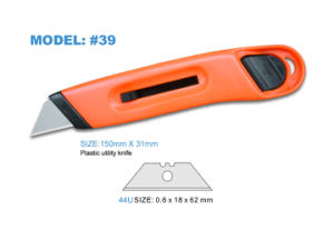 Plastic Customized Color Handle Promotional Office Knife with Single Blade pictures & photos