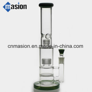3 Layers Design Glass Water Smoking Pipe with Honeycomb (ZY009) pictures & photos