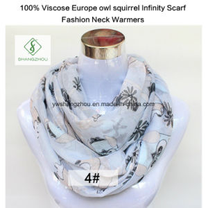 100% Viscose Europe Owl Squirrel Infinity Scarf Fashion Neck Warmers pictures & photos