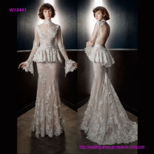 Full Embellishment Peplum Victorian Vintage Bridal Long Sleeves Sheer High Neck Sweetheart Neckline Sheath Wedding Dress with Keyhole Back and Sweep Train pictures & photos