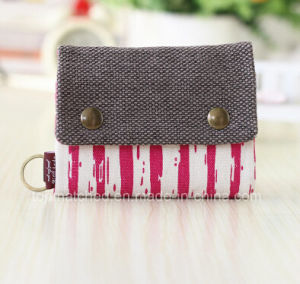 Unisex Men Women′s Three Layer Folded Manual Canvas Wallet Bag with Multi Card Holder Denim Multifunction Coin Purse pictures & photos