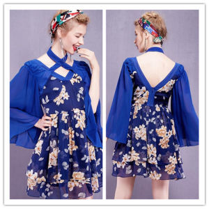 2015 Autumn Hot Sale High-Grade Printing Horn Sleeve Backless Laye dress pictures & photos