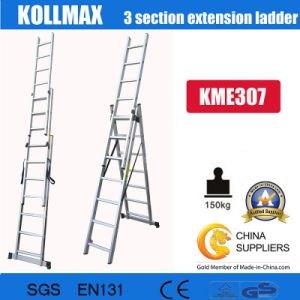Hot Sell Aluminium 3 Section Extension Ladder 3X7 pictures & photos