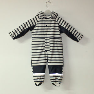 Sapphire/White PU Stripe Conjoined Raincoat/Overall for Baby/Children pictures & photos