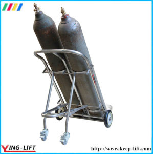 Movable Stainless Steel Double Cylinder Hand Trolley with Chain Ty130A pictures & photos
