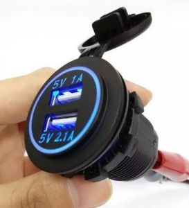 Waterproof Panel Mount Dual USB Power Socket Charger Car Truck 12V 24V 1A 2.1A pictures & photos