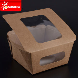 Custom Made Disposable Paper Salad Box with Window pictures & photos