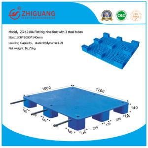 Warehouse Storage Products Plastic Pallet 1200*1000*140mm Flat Heavy Deck Rackable Plastic Pallet with 3 Steels for EU Standard Pallet pictures & photos