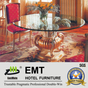 Glass Tabletop Wooden Base Hotel Lobby Table (EMT-FD05) pictures & photos