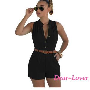 Black Button Front Belted Jumpsuit Romper pictures & photos