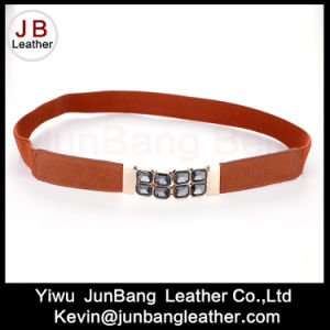 Ladies Fashion PU Elastic Rhinestone Belt
