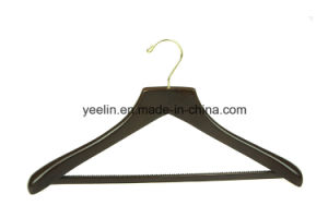 Yeein Hanger Supplier Deluxe Brown Wooden Clothes Hanger with Velvet Bar (YLWD-d5) pictures & photos