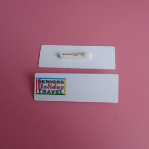 Company Staff Plastic Name Badges Safety Pin Backing pictures & photos