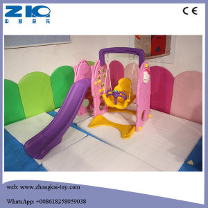Outdoor Playground Plastic Slide with Swing and Basketry pictures & photos
