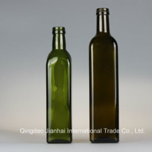 Dark Green and Brown Square Glass Bottle for Olive Oil pictures & photos